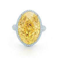 Tiffany & Co. - Ring in platinum and 18k gold with a 15.04-carat yellow diamond.