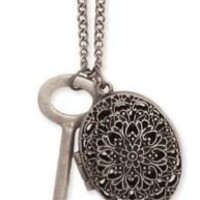 Zad Jewelry Vintage Look Large Key and Oval Filigree Cutout Locket Charm Necklace, 34""