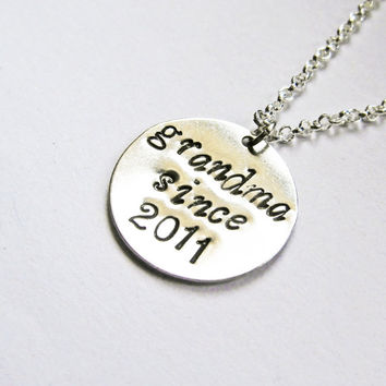 Established Necklace For Grandma, Grandmother Necklace, New Grandma Gift, Grandma Since, hand stamped necklace, grandmother jewelry, year