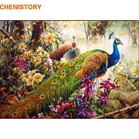 CHENISTORY peacock DIY Painting By Numbers animal  Acrylic Paint On Canvas family Hand-Painted Figure Paintings Wall Artwork