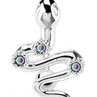"""14g Surgical Steel Reverse Snake Sexy Belly Button Navel Ring Body Jewelry Piercing with Aurora Borealis Gems Non Dangle 14 Gauge 3/8"""" Nemesis Body JewelryTM"""