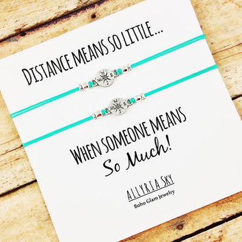 "Compass Friendship Bracelet Set with ""Distance Means So Little..."" Card 