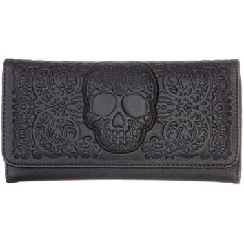 Frightful Filigree Skull Wallet in Black - PLASTICLAND