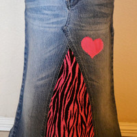 Girls long denim modest skirt, yet Sassy Pink Zebra Print, Custom to your size & desired fabric, 2T to Adult, Upcycled denim, frayed heart
