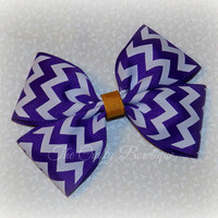 Purple & Gold Bow ~ Purple and White Bow ~ School Uniform Bow ~ Chevron Hair Bow ~ LSU Hair Bow ~ Large Boutique Bow ~ Baby Toddler Bow
