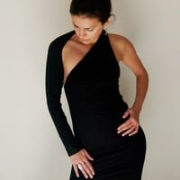 Black Dress Fitted One shoulder Mini Dress - Free US Shipping - Donation to UNICEF - Item MM-DRT1100B4