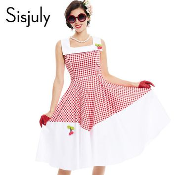 Sisjuly vintage dress 1950s style spring red plaid patchwork pin up party dress elegant cute cherry female vintage dresses