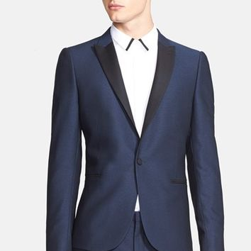 Men's The Kooples Trim Fit Single Button Tuxedo Jacket,