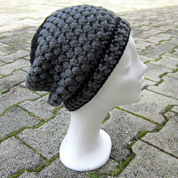 Slouchy hat unisex,grey winter hat,black grey beanie,grey women hat,charcoal beanie,winter women hat,grey men winter hat,slouchy hat crochet
