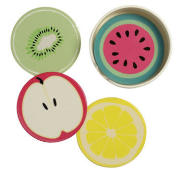 Four Ceramic Coasters With Fruits Designs