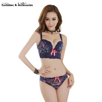 New Women Lace Underwear Push Up Side Support Plunge Bra and Panty Set Lingerie Bras Briefs Sets SHM1