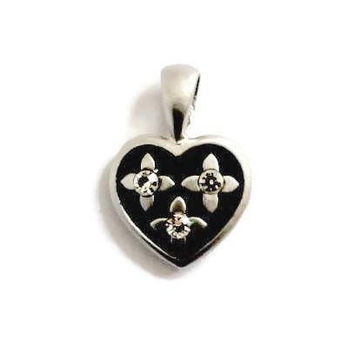 Small Heart Charm, Black And Brushed Silver Tone With Clear Rhinestones