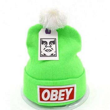 Obey Women Men Embroidery Beanies Knit Wool Hat Cap-12