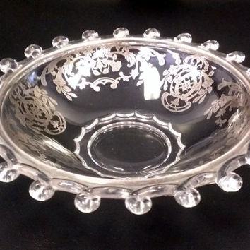 Sale Marked 10% OFFVintage Glass Bowl with Silver Embossed Design ~ Candy Dish ~ Vanity Tray