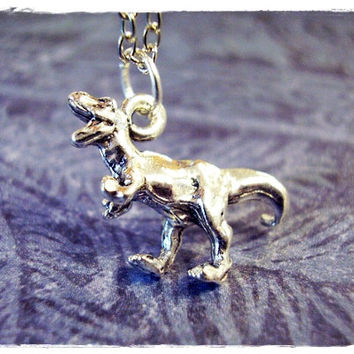 Silver Tyrannosaurus Rex Dinosaur Necklace - Silver Pewter T-Rex Charm on a Delicate 18 Inch Silver Plated Cable Chain