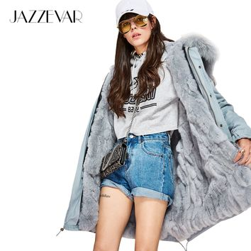 JAZZEVAR New Fashion women's Large raccoon fur collar parka Midi hooded Military coat outwear rabbit fur lining winter jacket