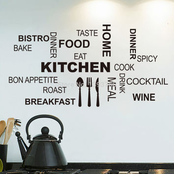 Kitchen Wall Quotes Art food wall stickers diy vinyl adesivo de paredes home decals art posters Sofa Wall Home Decoration SM6