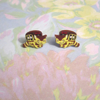 Catbus Inspired Earrings, My Neighbor Totoro Accessories, My Friend Totoro, Japanese Street Fashion, Geek Fashion, Gifts for Nerds, Kawaii
