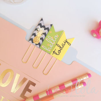 Pineapple Paper Clips, Planner Bookmark, Planner Accessories, Homework Bookmark, Paper Clips - Set of 3
