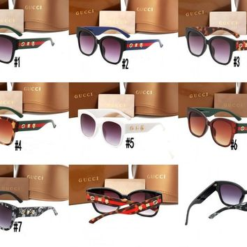 """""""Gucci""""All-match Personality Fashion Logo Gorgeous Big Mental Frame Frog Mirror Sunglasses Glasses"""