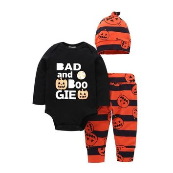 2018 Autumn baby clothes /Orange pumpkin print leggings and hat+ Black bodysuit / Bad and boo gie