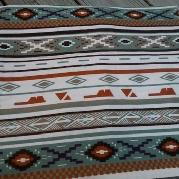 "Vintage 80s Tribal Aztec Southwest Geometric Flannel Fabric 5/6 yard x 60"" wide."