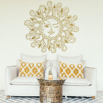 Round Mandala, Vinyl Mandala, Mandala Art Decal, Gold Wall Decal, Bohemian Bedroom, Unique Gift, Ideas for Boho Decoration, Yoga Gifts #022