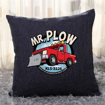 Mr. Plow Truck, The Simpsons Throw Pillow Cover
