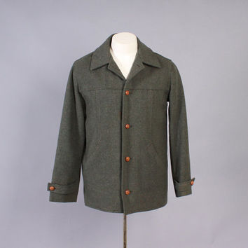 Vintage FILSON JACKET / Rare 1960s Men's Green Wool Lightweight Fall Coat M