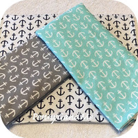 Personalized Anchor Burp Cloths ~ Anchor Baby Shower Gift ~ Gender Neutral Burp Cloths ~ Turquoise Grey Navy Burp Cloths ~ Set of 3