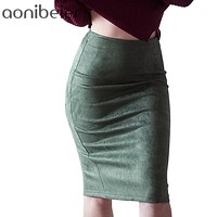 Women Skirts Suede Solid Color Pencil Skirt Autumn Winter High Waist Bodycon Vintage Suede Split Thick Stretchy Skirts