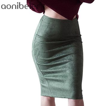 Women Skirts Suede Solid Color Pencil Skirt