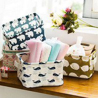 Pastoral Storage Bin Closet Toy Storage Box Container Cartoon Animal Organizer Home Fabric Cube Basket
