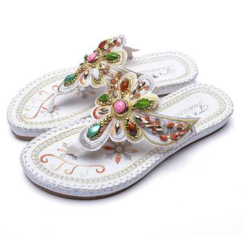 Bohemia Floral Rhinestone Beaded Clip Toe Flat Sandals For Women