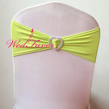 WedFavor 100pcs Lime Green Lycra Spandex Chair Sash Bands Elastic Stretch Wedding Chair Ribbon Bows With Heart Buckle