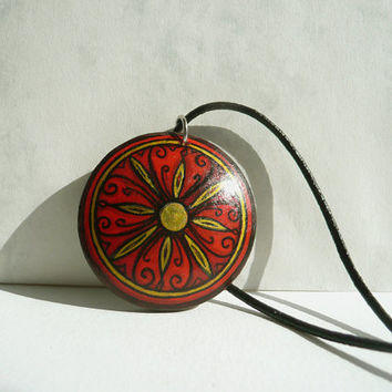 Folk Necklace Feminine Wooden Necklace, Red Necklace, Painted  Pendant, Big Necklace, Black Leather Cord, Heart Necklace by Artdora