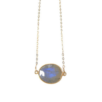 Grace Labradorite Bezel Pendant Necklace