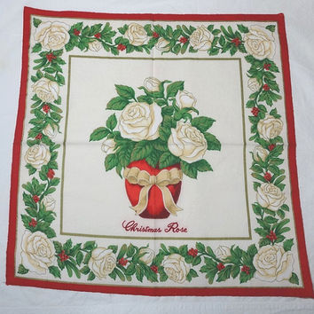Set of 8, 1980s Vintage Christmas Dinner Napkins with Christmas Rose, Red, Green, Gold, White, Poly Cotton, Vintage Christmas Linens, Decor