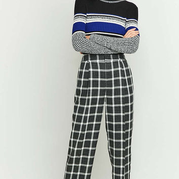 Light Before Dark Grey Checked Cocoon Trousers - Urban Outfitters