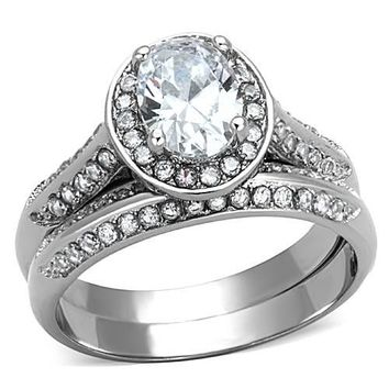 Radiant Oval Halo CZ Stainless Steel Wedding Ring Set
