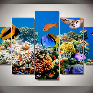 Tropical Aquarium 5-Piece Wall Art Canvas
