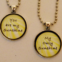 You Are My Sunshine Necklace Set. Mother Daughter, Best Friends Necklace Set. 18 Inch Ball Chains.