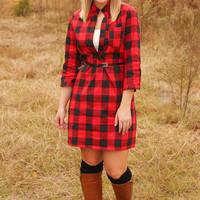 Pretty As A Picture Dress: Red/Black