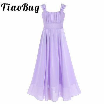Tiaobug 2017 Brand New Flower Girls Long Dresses Real Party Pageant Communion Dress Little Girls Kids/Children Dress for Wedding