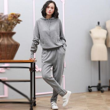 Women's Pure Cashmere Sweater & Pants Sweatsuit