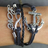 Jewels of silver bracelet black leather bracelets bracelets bracelets anchor of infinite hope