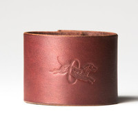 Chestnut Brown Leather Cuff  -  Nickel Fasteners - 2 Inches Wide