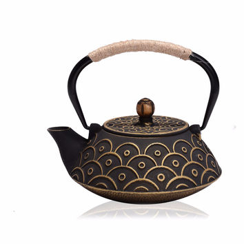 New 7 Chioces Cast Iron Teapot Set Japanese Tea Pot Tetsubin Kettle Enamel 900ml Kung Fu Infusers Metal Net Filter Cooking Tools