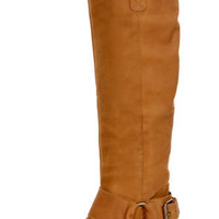 Steve Madden Bankker Cognac Leather Belted Riding Boots