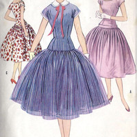 1950s Junior Drop Waist Dress With Full Skirt Vintage Sewing Pattern, McCall's 3150 bust 31""
